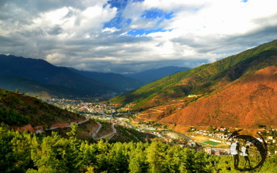 Bhutan - the capital, view of Thimphu Valley
