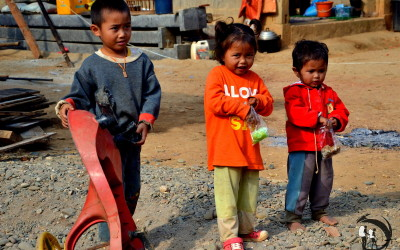 Laos. Children from the village