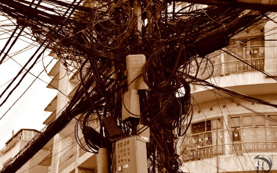 Vietnam. Ho Chi Minh City. Electrician's nightmare